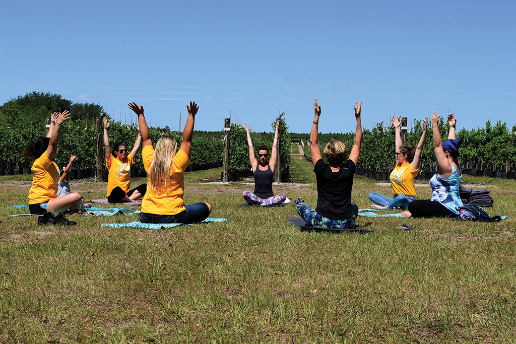 Cherrylake employees gather for a yoga class.
